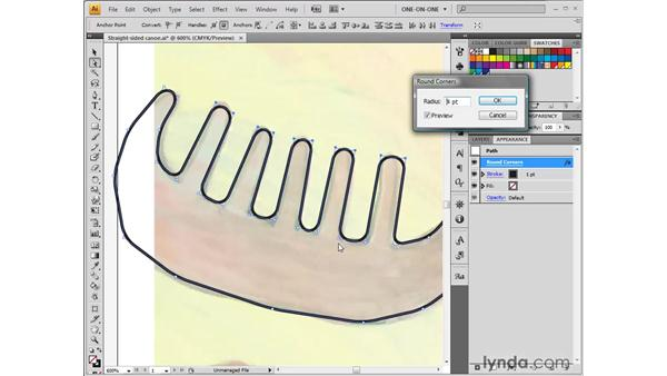 Drawing spline curves with Round Corners: Illustrator CS4 One-on-One: Fundamentals