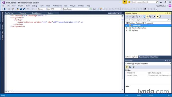 Working with the Solution Explorer: Visual Studio 2015 Essentials 03: Exploring Projects and Solutions