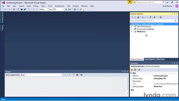Setting the startup project: Visual Studio 2015 Essentials 03: Exploring Projects and Solutions