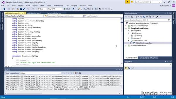 Setting multiple startup projects: Visual Studio 2015 Essentials 03: Exploring Projects and Solutions