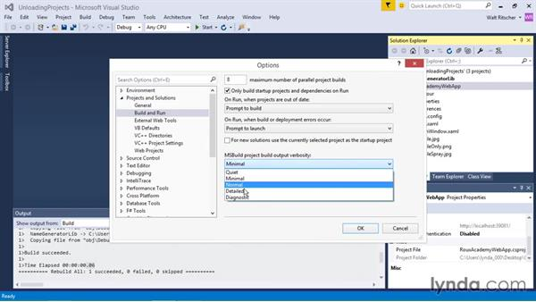Loading and unloading projects: Visual Studio 2015 Essentials 03: Exploring Projects and Solutions