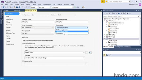 Exploring and modifying project properties: Visual Studio 2015 Essentials 03: Exploring Projects and Solutions