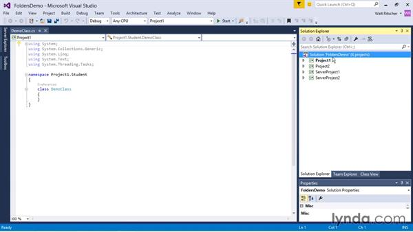 Working with solution and project folders: Visual Studio 2015 Essentials 03: Exploring Projects and Solutions