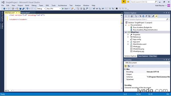 Working with files and the Miscellaneous Files folder: Visual Studio 2015 Essentials 03: Exploring Projects and Solutions
