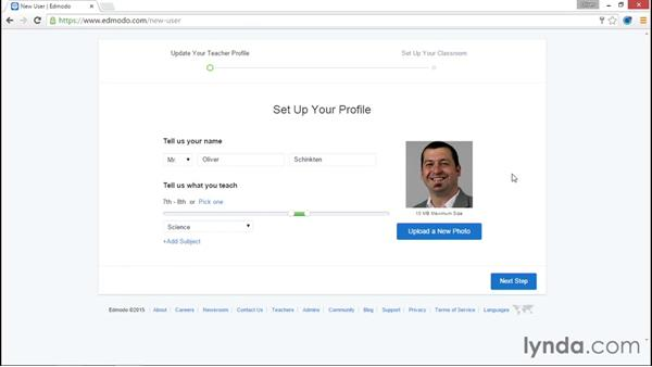 Signing up for a teacher account: Up and Running with Edmodo