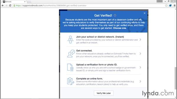 Verifying your account: Up and Running with Edmodo