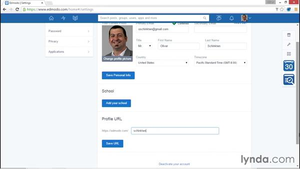 Personalizing your settings and profile: Up and Running with Edmodo