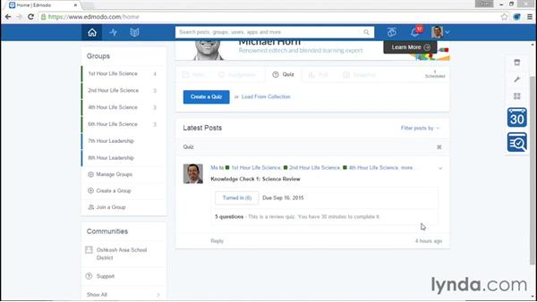 Organizing your activity stream: Up and Running with Edmodo