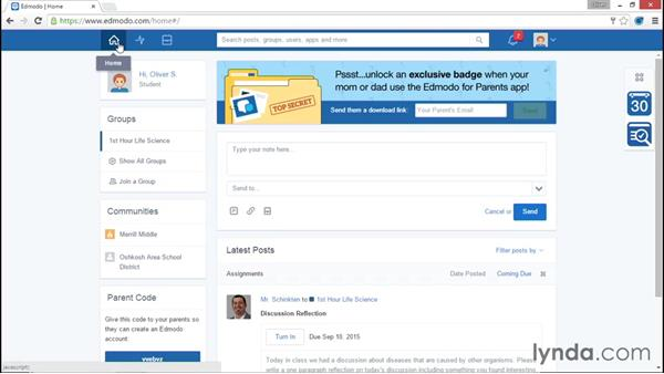 Posting in the activity stream: Up and Running with Edmodo