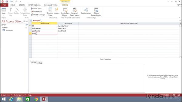 Creating Access database tables from scratch: Building Solutions Using Excel 2013 and Access 2013 Together
