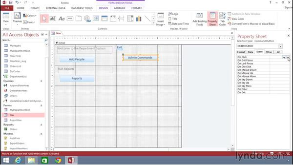 Assigning and building macros on events and buttons: Building Solutions Using Excel 2013 and Access 2013 Together