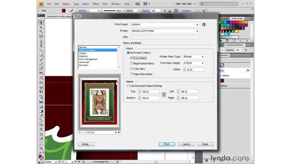Setting printer marks: Illustrator CS4 One-on-One: Fundamentals