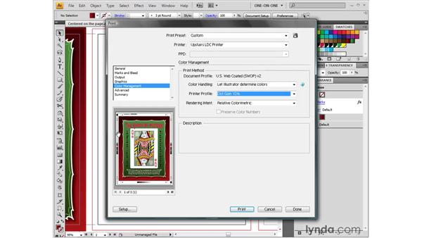 The Color Management options: Illustrator CS4 One-on-One: Fundamentals