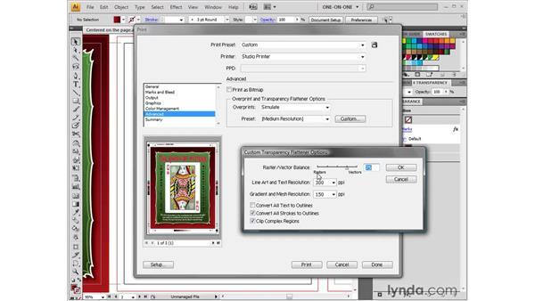 Adjusting the Flattener settings: Illustrator CS4 One-on-One: Fundamentals