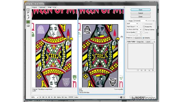 Saving a scaleable Flash (SWF) graphic: Illustrator CS4 One-on-One: Fundamentals
