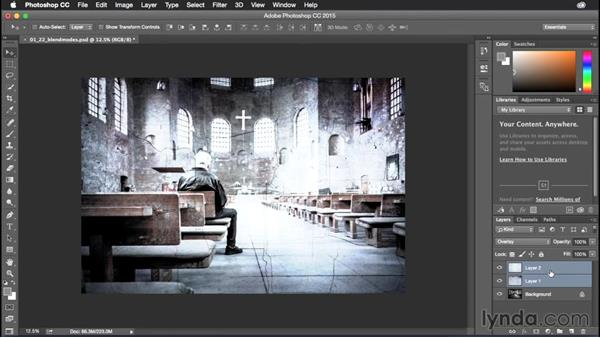 Applying blend modes to multiple layers: Photoshop CC Power Shortcuts