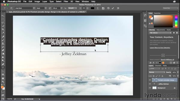 Changing paragraph justification: Photoshop CC Power Shortcuts