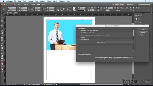 Hiding and showing layers: InDesign Insider Training: Working with Photoshop and Illustrator