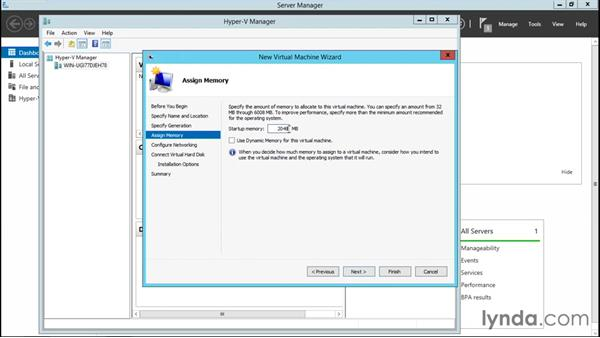 Creating a virtual machine in Hyper-V Manager: Configuring Windows Server 2012 R2 Hyper-V