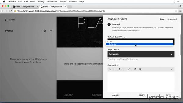 Add an event page and set settings: Squarespace 7 Intermediate Techniques