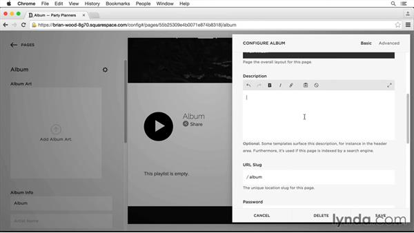 Insert an album page: Squarespace 7 Intermediate Techniques