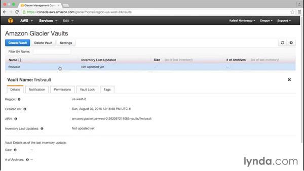 Exploring Glacier storage: Amazon Web Services Data Services