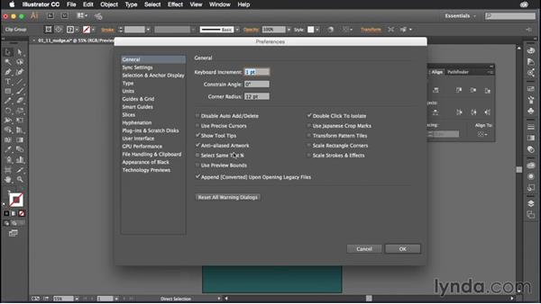 Adjusting your nudge settings for precision: Illustrator CC Power Shortcuts