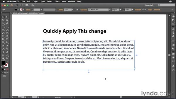 Changing paragraph justification: Illustrator CC Power Shortcuts