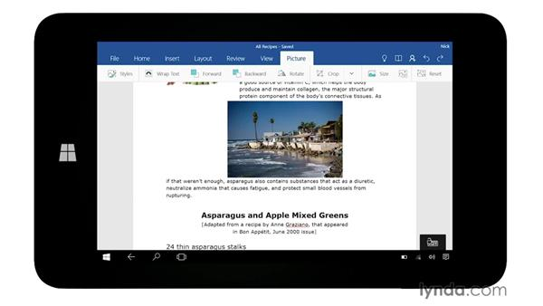 Working with Word: Up and Running with Office Mobile for Windows 10