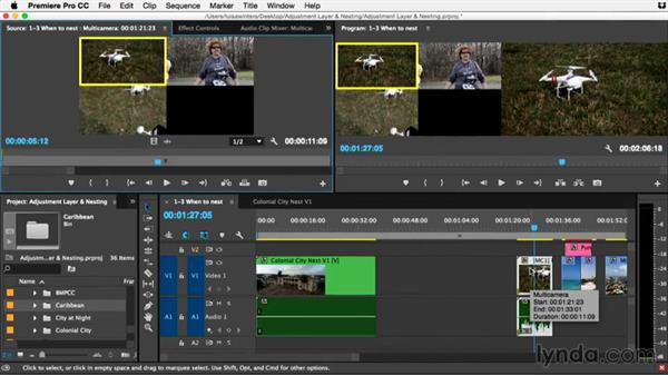 When to nest and when to use the source: Editing nests into new sequences: Premiere Pro Guru: Adjustment Layers and Nesting