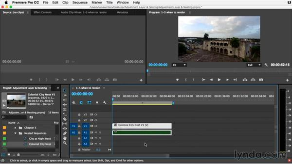 When to render and replace your nest: Premiere Pro Guru: Adjustment Layers and Nesting