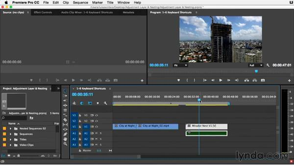 Essential keyboard shortcuts for nesting: Premiere Pro Guru: Adjustment Layers and Nesting