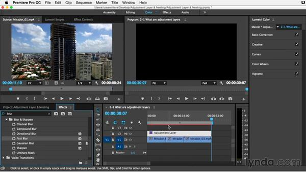 What are adjustment layers and why should we use them?: Premiere Pro Guru: Adjustment Layers and Nesting