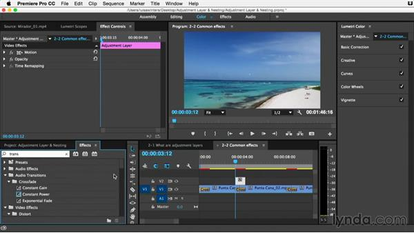 Common effects that should be applied using adjustment layers: Premiere Pro Guru: Adjustment Layers and Nesting