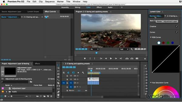 Saving and applying presets to adjustment layers: Premiere Pro Guru: Adjustment Layers and Nesting