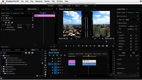 Creating a template project: Saving an adjustment layer: Premiere Pro Guru: Adjustment Layers and Nesting