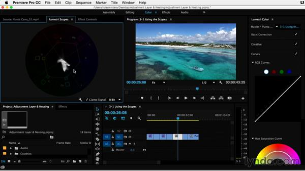 Using the scopes: Premiere Pro Guru: Adjustment Layers and Nesting