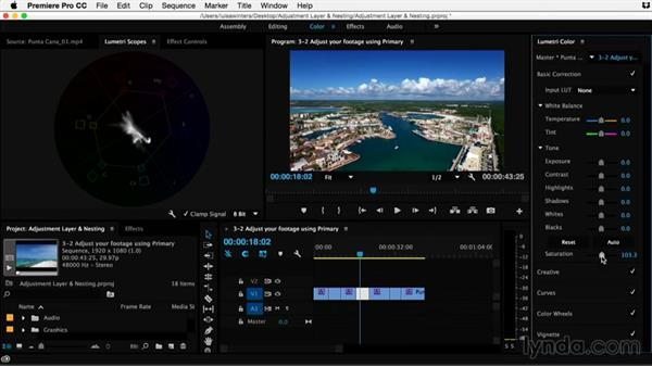 Adjusting your footage using primary color corrections: Premiere Pro Guru: Adjustment Layers and Nesting