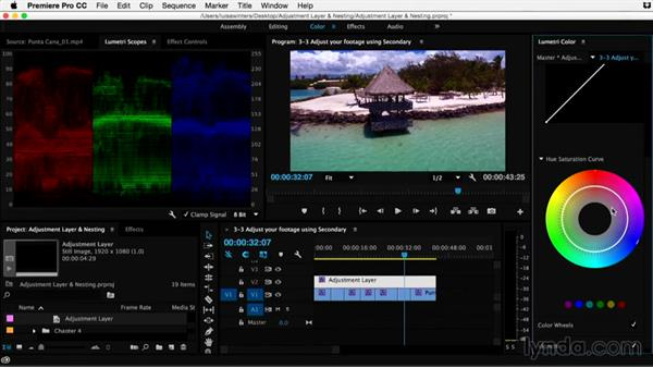Adjusting your footage using secondary color corrections: Premiere Pro Guru: Adjustment Layers and Nesting