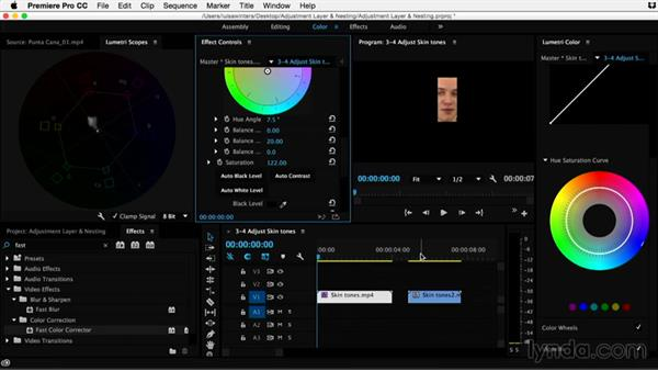 Adjusting skin tones: Premiere Pro Guru: Adjustment Layers and Nesting