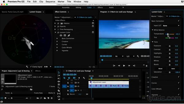 Warming (or cooling) your footage: Premiere Pro Guru: Adjustment Layers and Nesting