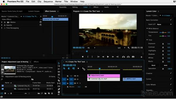 Creating the film look effect: Premiere Pro Guru: Adjustment Layers and Nesting