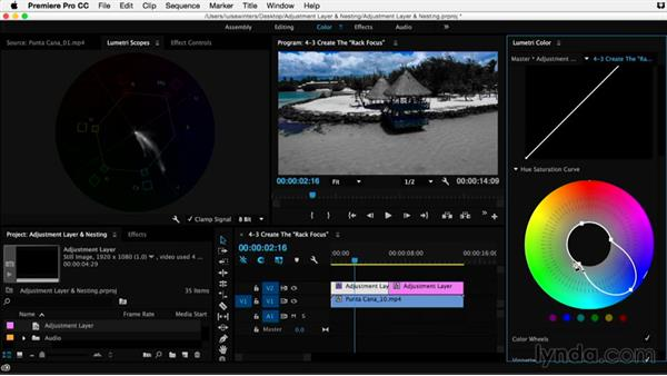 Creating the rack focus effect: Premiere Pro Guru: Adjustment Layers and Nesting
