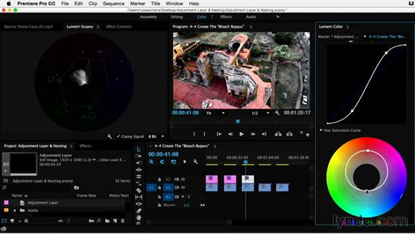 Creating the �bleach bypass� effect: Premiere Pro Guru: Adjustment Layers and Nesting