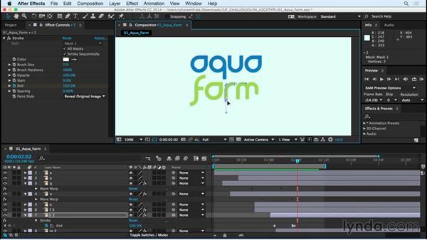 Day 1 solution: Aqua farm: 5-Day Mograph Challenge: Typographic Logo Animation