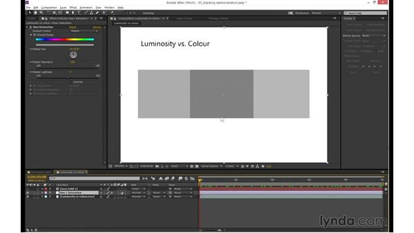 Tracking luminosity vs. color channels: mocha 4 Essential Training