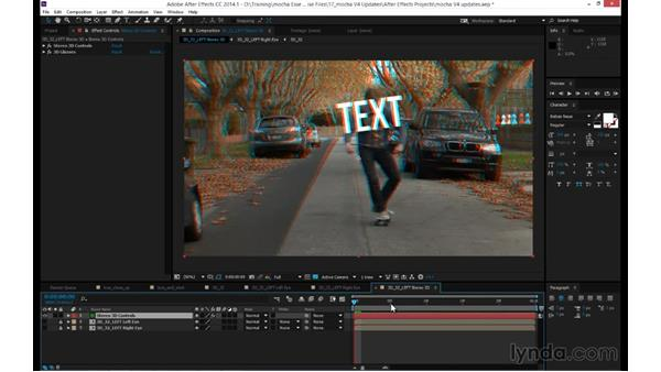 Exporting stereoscopic 3D track and shape data to After Effects: mocha 4 Essential Training