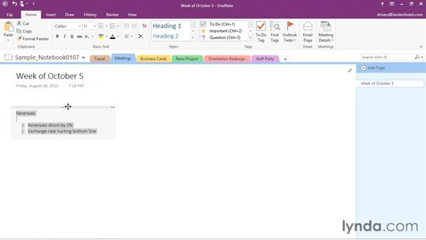Creating a note on a page: OneNote 2016 Essential Training