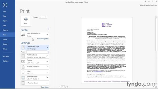 Sending content to OneNote: OneNote 2016 Essential Training