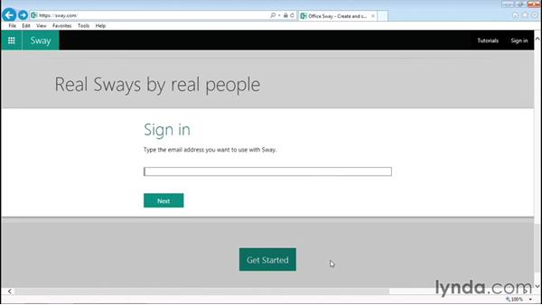 Setting up your Sway account: Sway Essential Training
